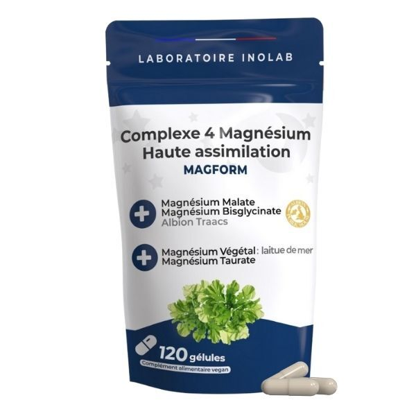 Laboratoire Inolab - 4 formes de Mg synergiques: bisglycinate®, malate, taurinate...