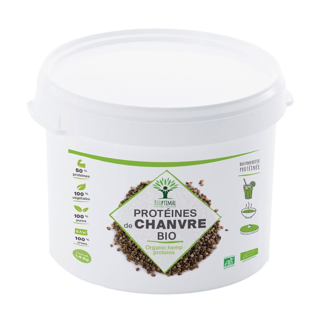 Bioptimal - Protéine de Chanvre Bio - 50% de Protéines Oméga 3 Fibres -1,5kg