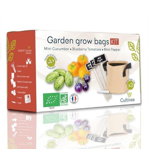 Cultivea - Kit sacs de culture BIO* (Graines Concombre, Tomate, Poivron)