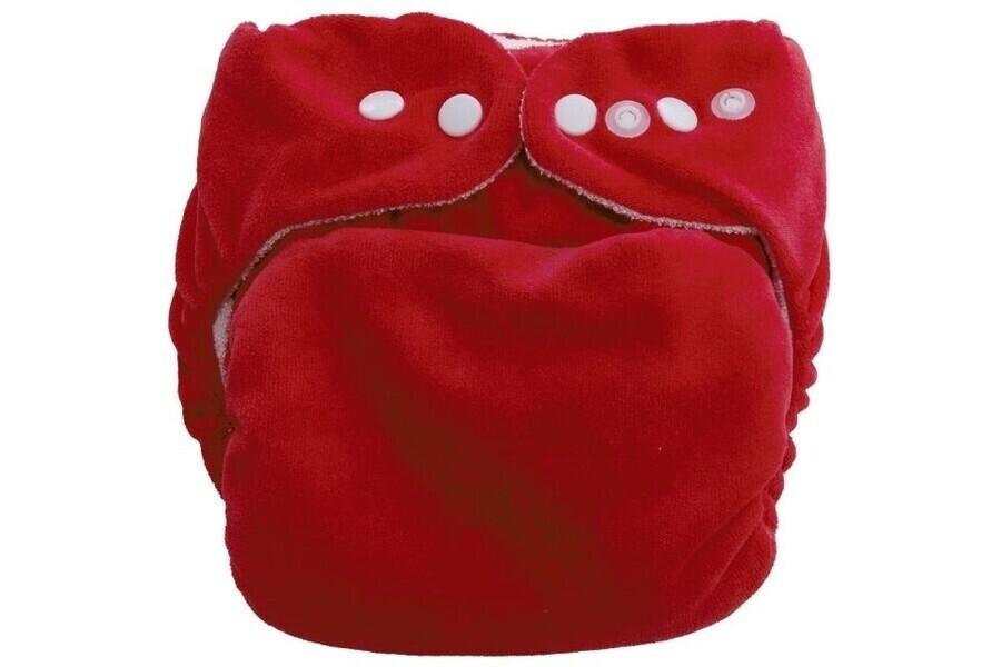 P'tits Dessous - Couche lavable bébé So Bamboo, Taille 3 (11-20 kg) -Tomate-Blanc