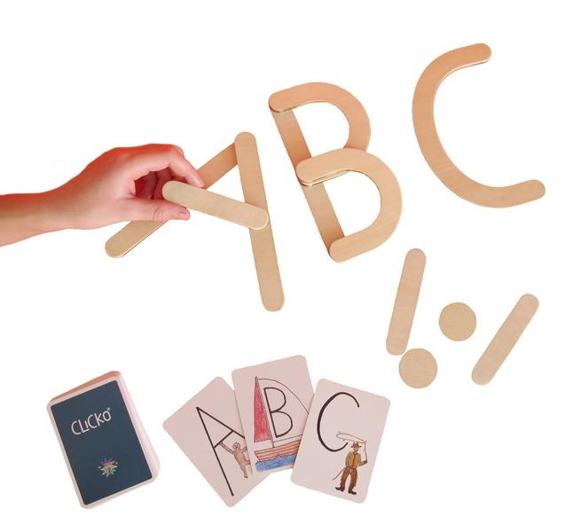 Clicko - Apprendre les lettres 11 pieces en bois magnetiques