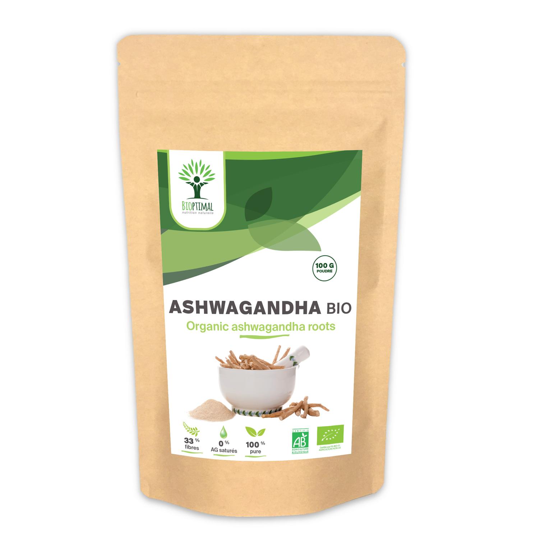 Bioptimal - Ashwagandha Bio en Poudre - 100g - Sommeil Vitamines