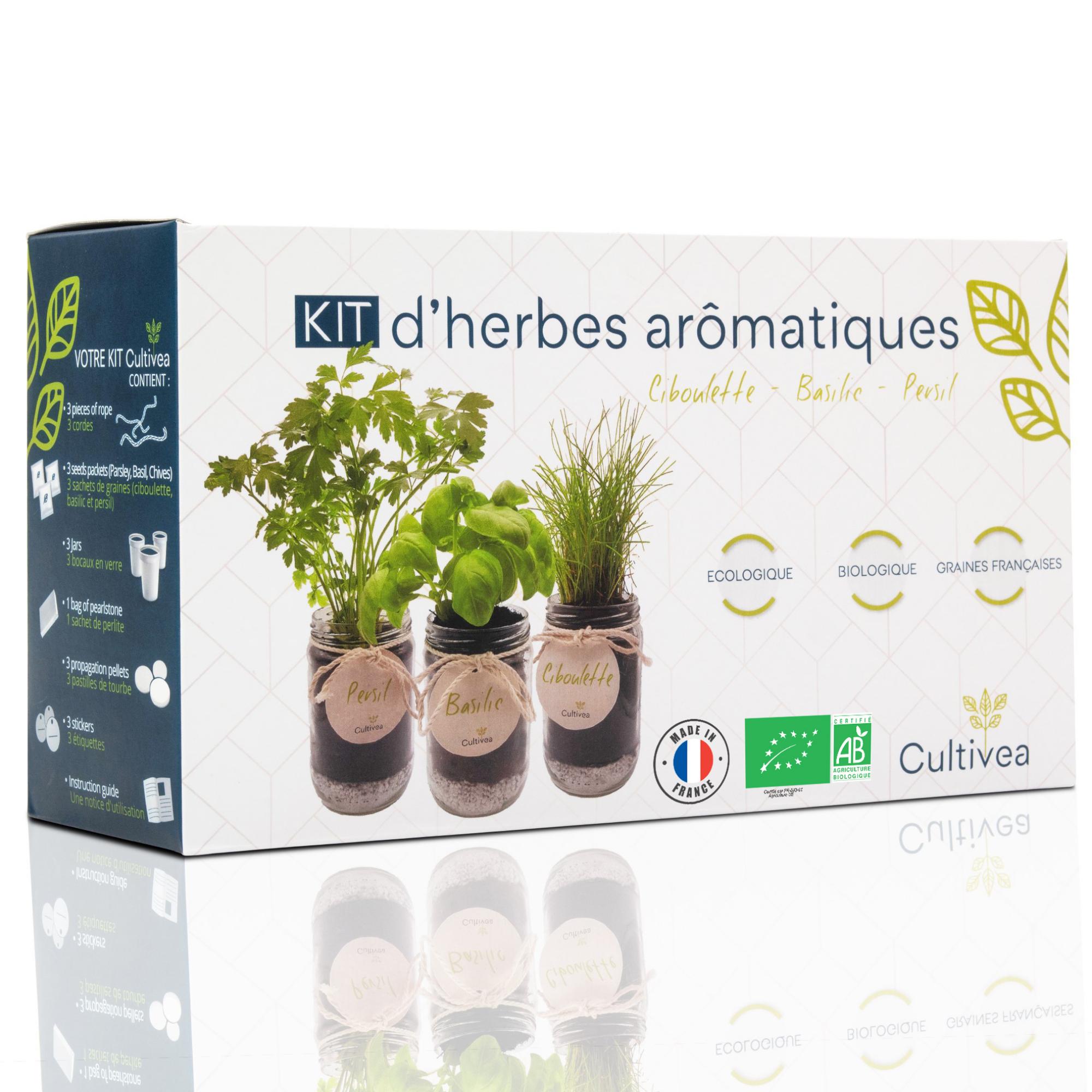 Cultivea - Kit d'herbes aromatiques Graines Ciboulette, Basilic, Persil