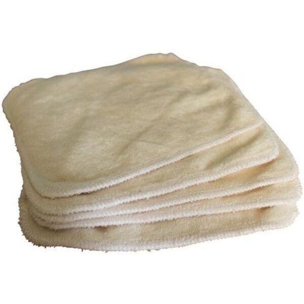 Easy Dort - Lot de 5 lingettes lavables bambou, Couleur écru, 20x20 cm