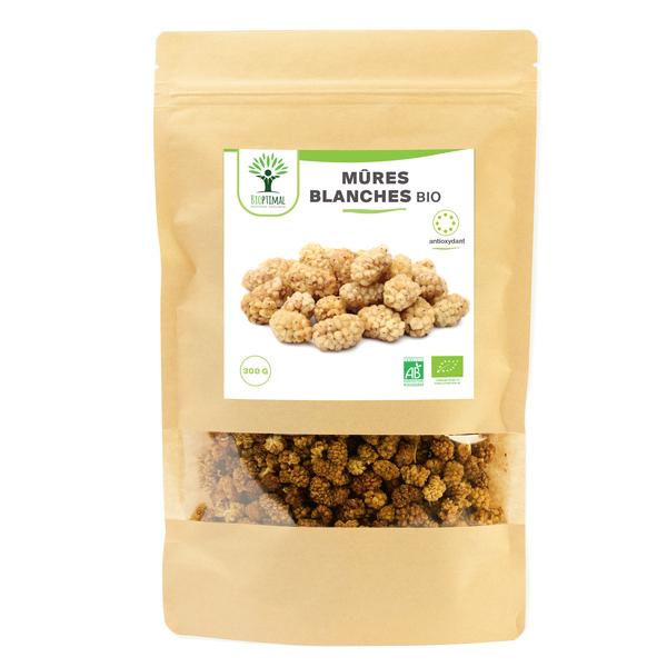 Bioptimal - Mûres Blanches bio - 300g - Mulberries - Vitamine C - Fruit sec