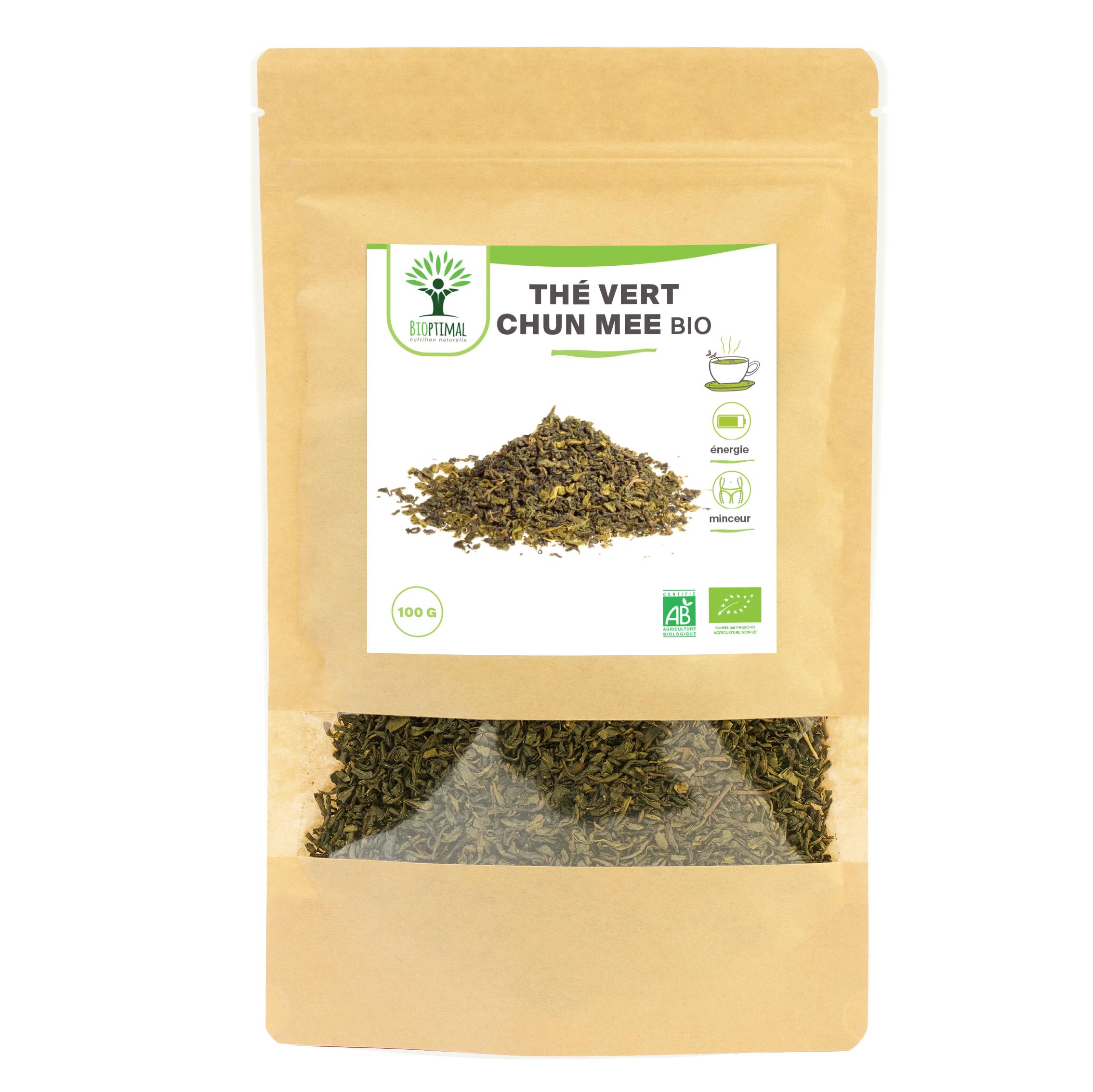 Bioptimal - Thé Vert Bio - Chun Mee en Vrac - Energie Détox Minceur - 100g
