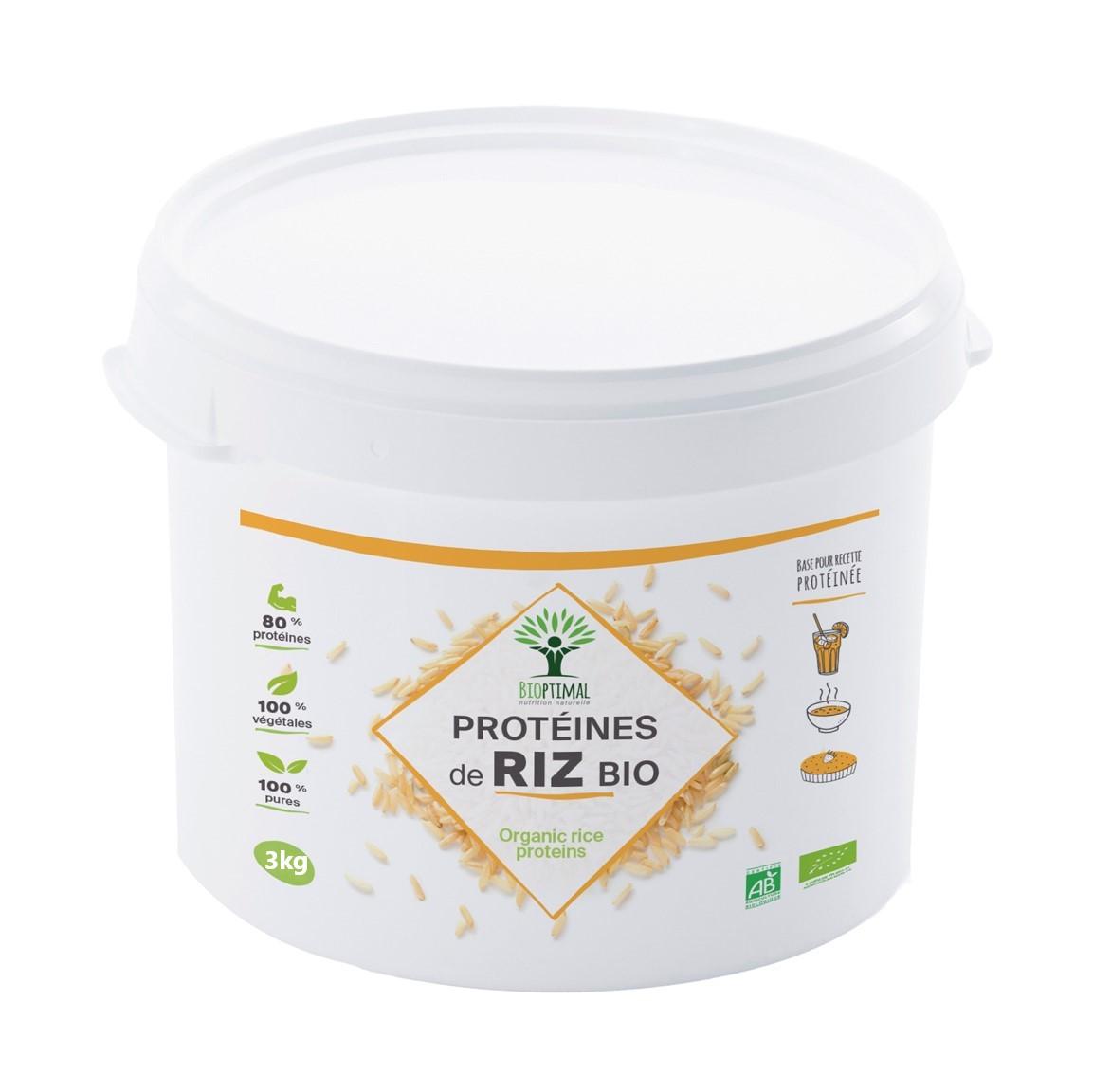 Bioptimal - Protéine de Riz Bio - 80% de Protéines BCAA Energie Sport - 3kg