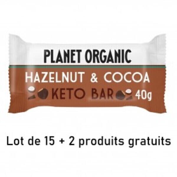 Planet Organic - LOT DE 15+2 Barres Keto Noisette-Cacao 40g Bio