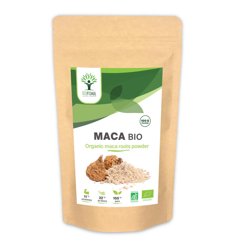 Bioptimal - Maca Bio - Energie Sexualité Fertilité - Poudre 100% Pure - 100g