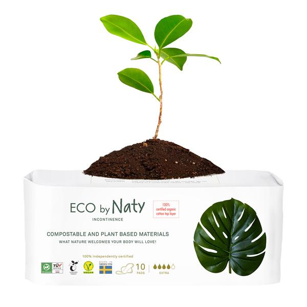 Eco by Naty - 10 Serviettes pour fuites urinaires - Extra Long