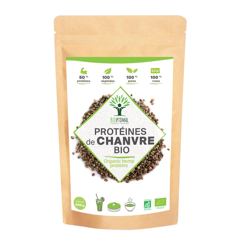 Bioptimal - Protéine de Chanvre Bio - 50% de Protéines Oméga 3 Fibres - 500g