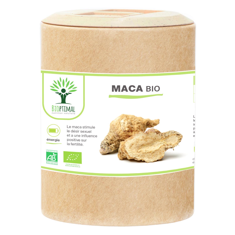 Bioptimal - Maca Bio - Energie Sexualité Fertilité Sport - 200 gélules