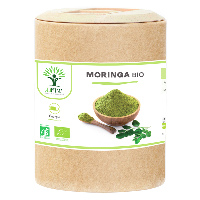 Bioptimal - Moringa Bio - Immunité Anti-Fatigue Vitamine A C E - 200 gélules