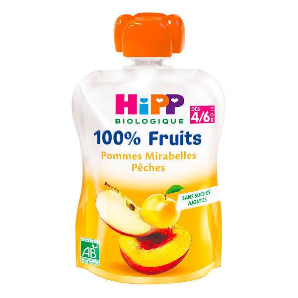 HiPP - Gourde pommes mirabelles pêches 90g