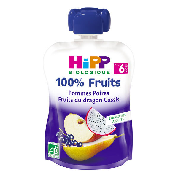 HiPP - Gourde pommes poires fruits du dragon cassis 90g