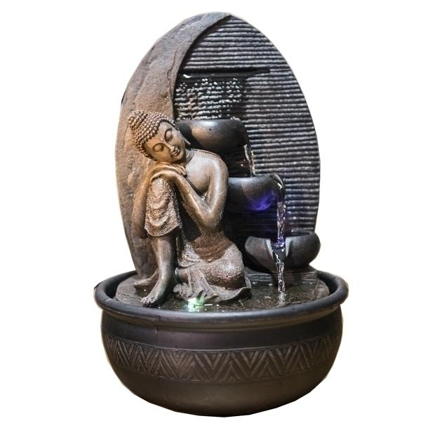 Zen' Light - Fontaine d'Intérieur Déco Feng Shui Bouddha Grace Eclairage Led