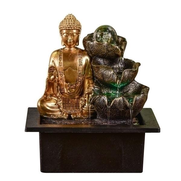 Zen' Light - Fontaine d'Intérieur Bouddha Arya avec Eclairage Led