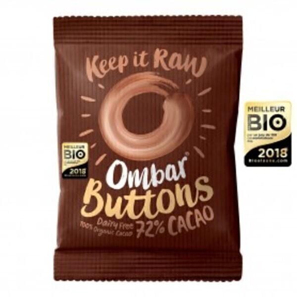Ombar - Buttons Chocolat Cru 72% Cacao 25g Bio