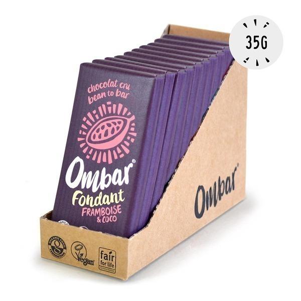 Ombar - Lot de 9+1 Chocolats Crus Fondant Framboise-Coco 35g Bio