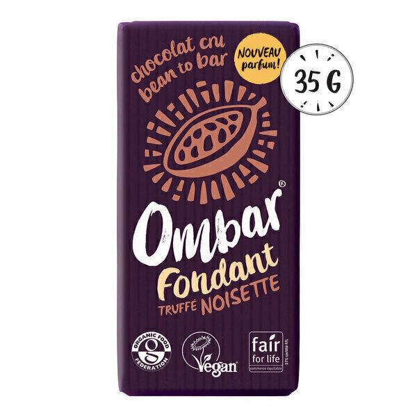 Ombar - Chocolat Noir au coeur truffé Noisette 35g Bio
