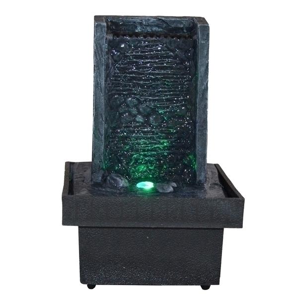 Zen' Light - Fontaine d'Intérieur Feng Shui Eveil Zen avec Eclairage Led