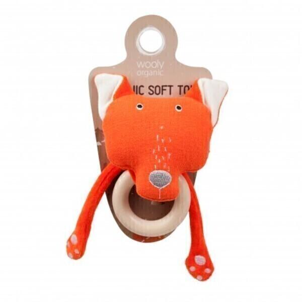 Wooly Organic - Hochet avec anneau de dentition Funky Feet Personnage -Le Renard