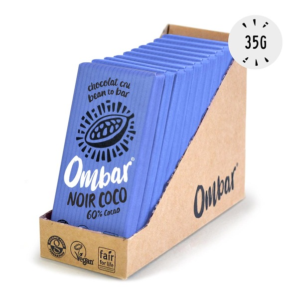 Ombar - Lot de 9+1 Chocolats Crus Noir-Coco 35g Bio