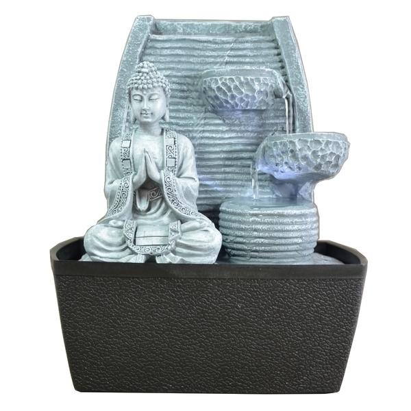 Zen' Light - Fontaine d'Intérieur Feng Shui Sagesse avec Eclairage Led