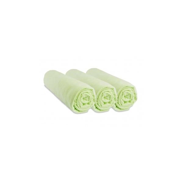 Easy Dort - Lot de 3 Draps housse Jersey 100% Coton - 50x100 cm - Anis