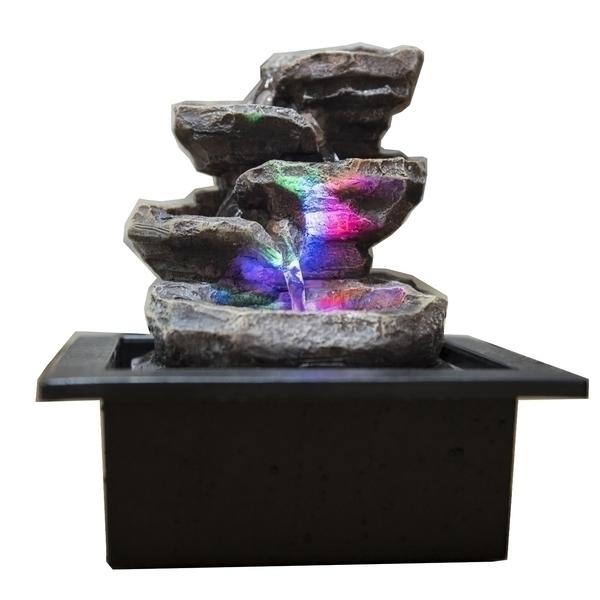 Zen' Light - Fontaine d'Intérieur Déco Nature Galou avec Eclairage Led