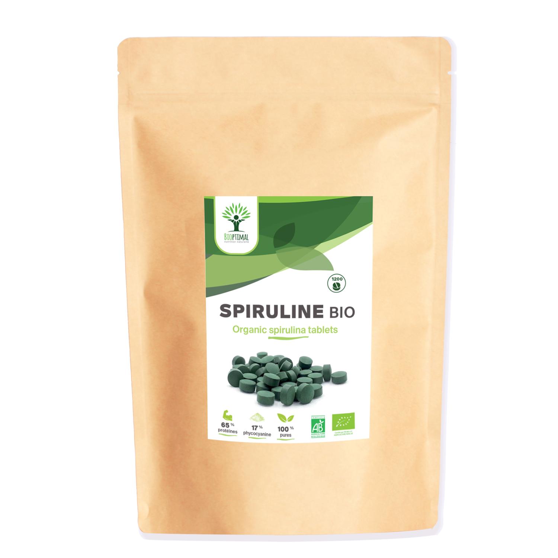 Bioptimal - Spiruline Bio - 1200 Comprimés - Fer Protéines Phycocyanine BCAA