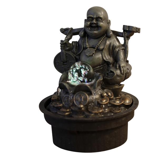 Zen' Light - Fontaine d'Intérieur Bouddha Voyageur avec Eclairage Led