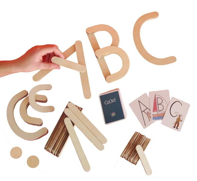 Clicko - 38 pièces magnétiques en bois construire apprendre lettres abc