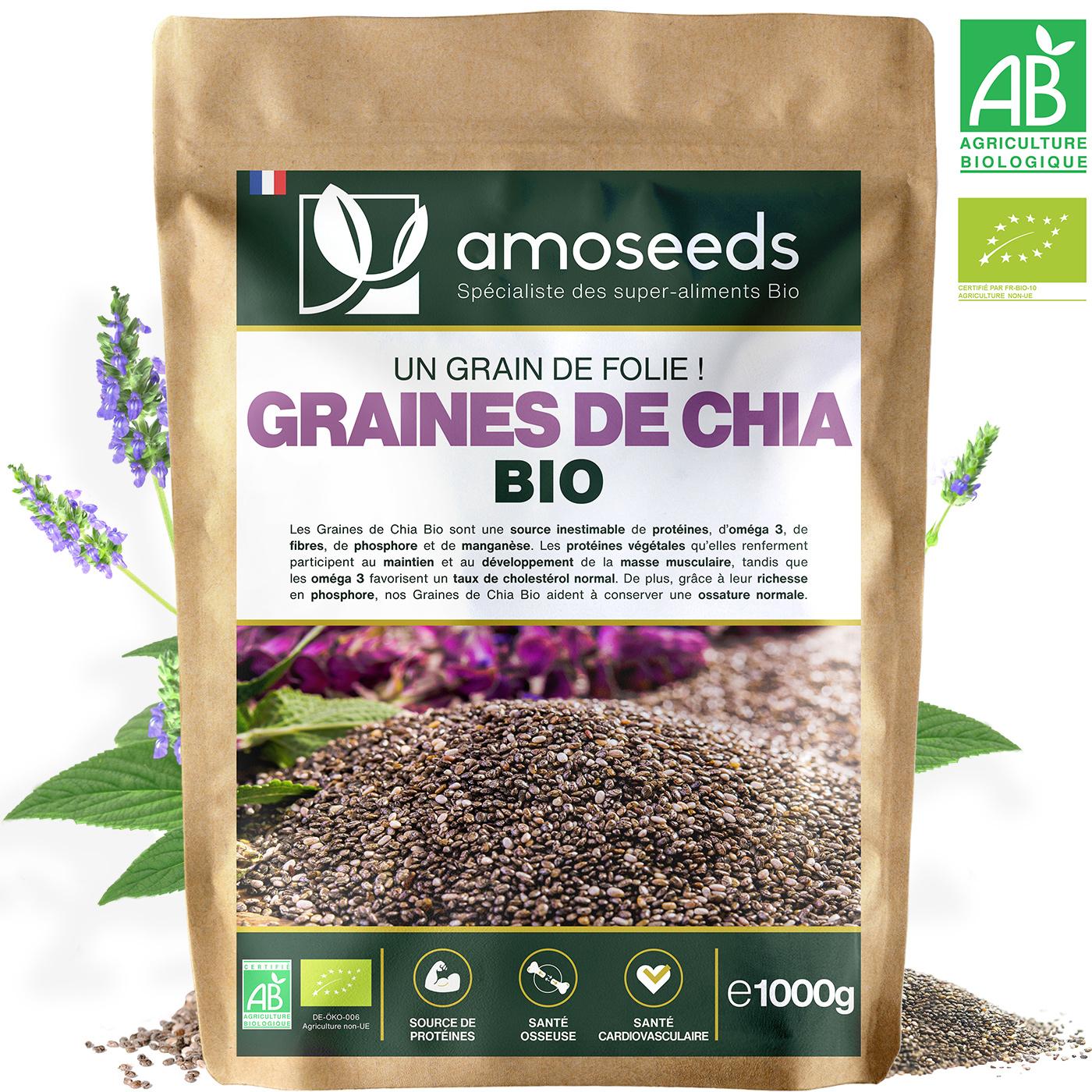 amoseeds - Graines de Chia Bio 1KG Mexique