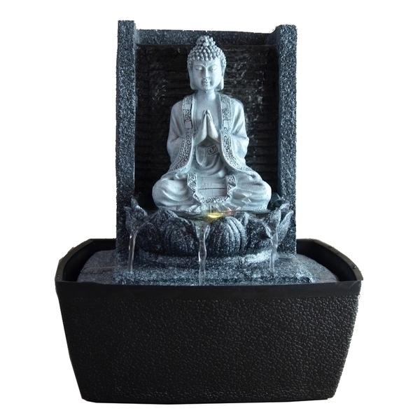 Zen' Light - Fontaine d'Intérieur Déco Bouddha Nirvana avec Eclairage Led