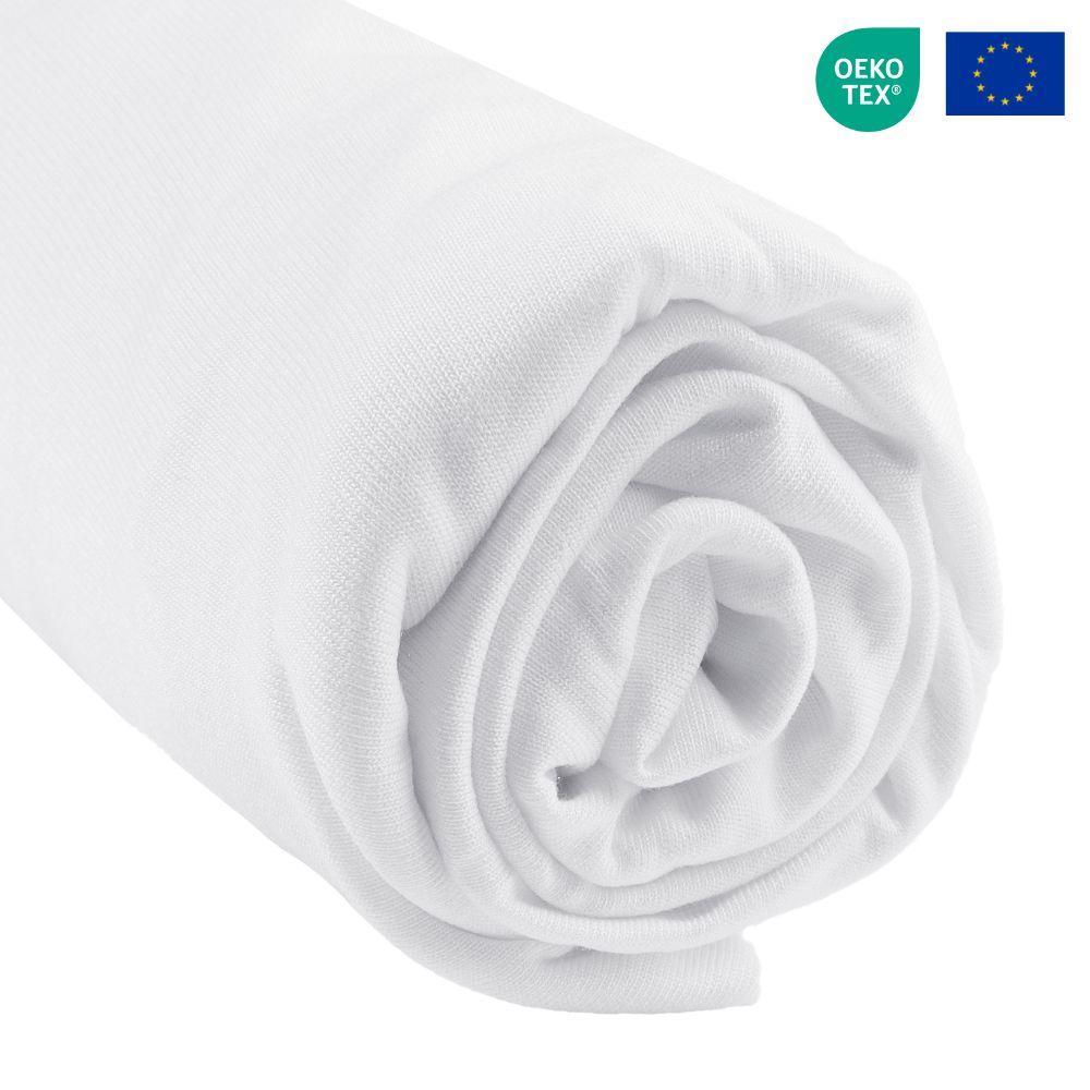 Easy Dort - Drap housse Bambou  lit deux places 140x190 / 140x200 cm - Blanc