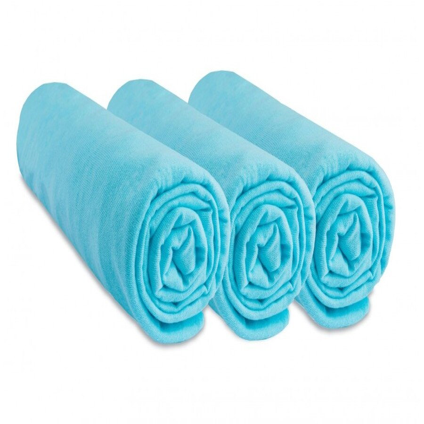 Easy Dort - Lot de 3 Draps housse Jersey 100% Coton - 50x100 cm - Turquoise