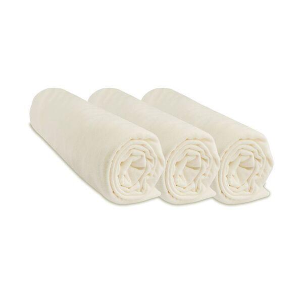 Easy Dort - Lot de 3 Draps housse Jersey 100% Coton - 50x100 cm - Écru