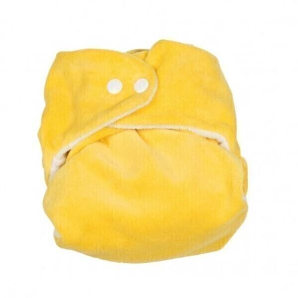 P'tits Dessous - Couche lavable bébé So Bamboo, Taille 2 (8-16 kg) - Citron-Blanc