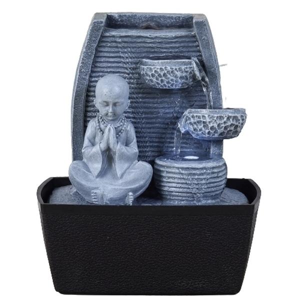 Zen' Light - Fontaine d'Intérieur Feng Statuette Bonze avec Eclairage Led