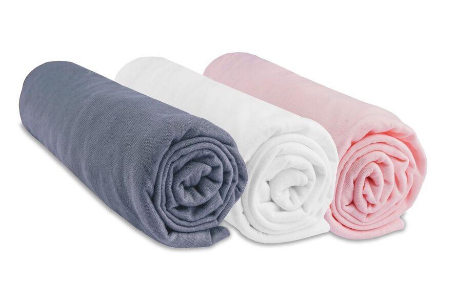 Easy Dort - Lot de 3 Draps housse Jersey 100% Coton - 40x80 / 40x90 cm