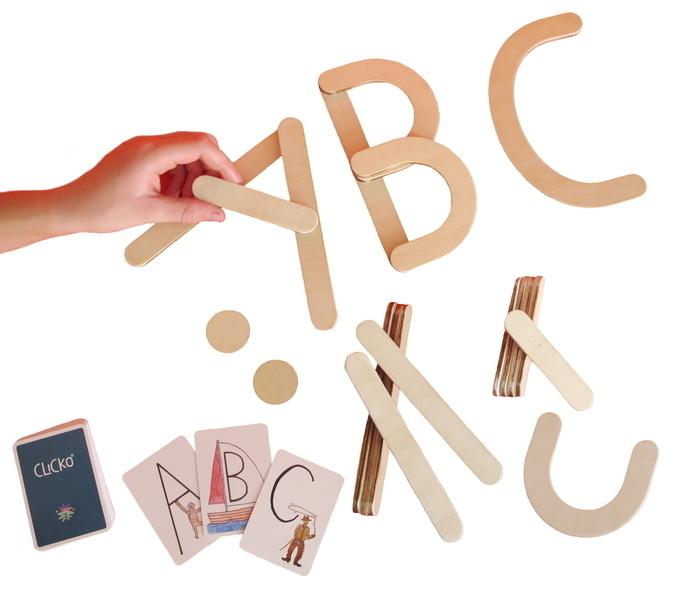 Clicko - 20 pièces en bois magnétiques construisent des lettres abc jouet