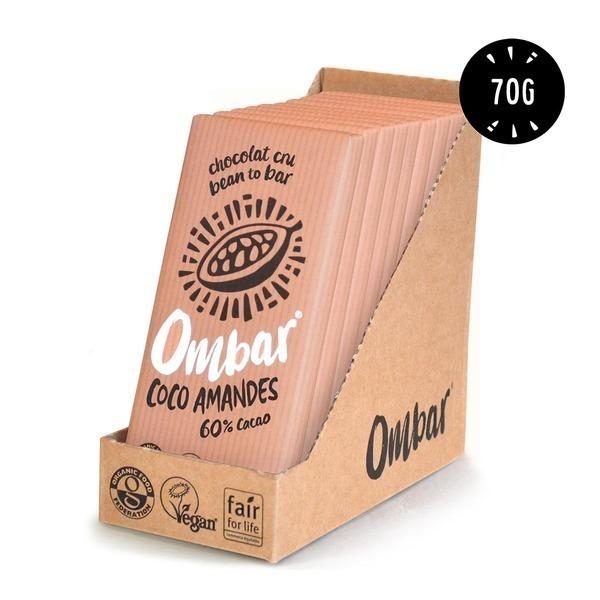 Ombar - Lot 9+1 Chocolats Crus Coco - Eclats d'Amandes 70g Bio