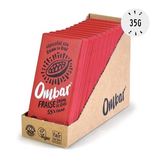 Ombar - Lot de 9+1 Chocolats Crus Fraise et Crème de Coco 35g Bio