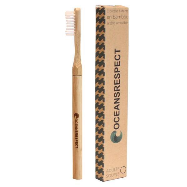 Oceansrespect - Brosse à dents en bambou avec tête interchangeable - Souple