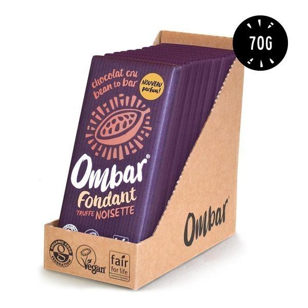 Ombar - Lot de 9+1 Chocolat Noir au coeur truffé Noisette 70g Bio