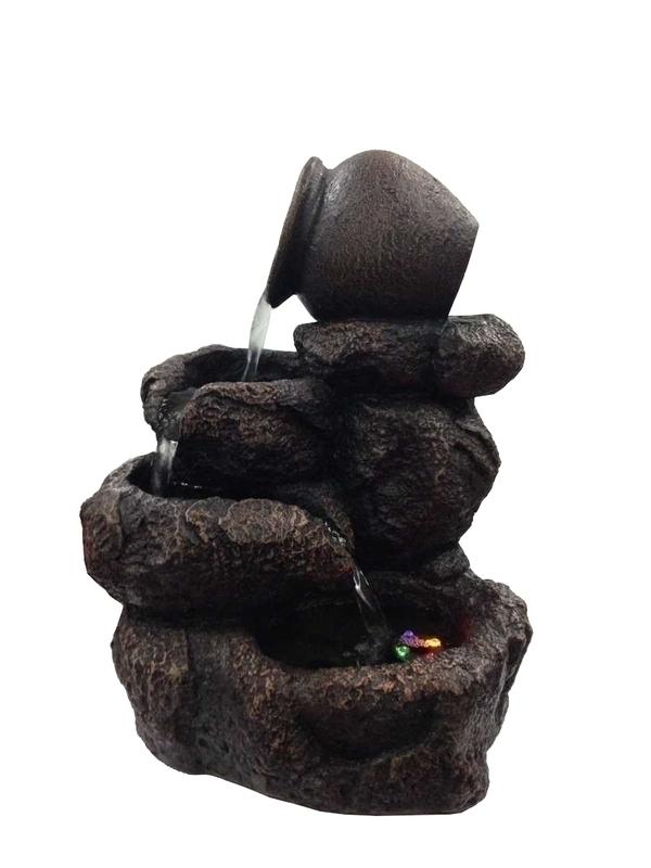 Zen' Light - Fontaine d'Intérieur Déco Nature Nivello avec Eclairage Led
