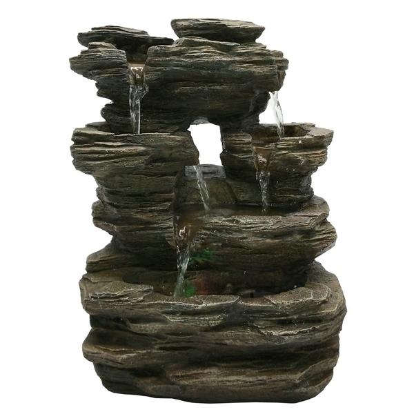 Zen' Light - Fontaine d'Intérieur Déco Nature Pietra avec Eclairage Led