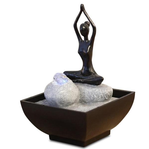 Zen' Light - Fontaine d'Intérieur Déco Originale Yoga 2 avec Eclairage Led