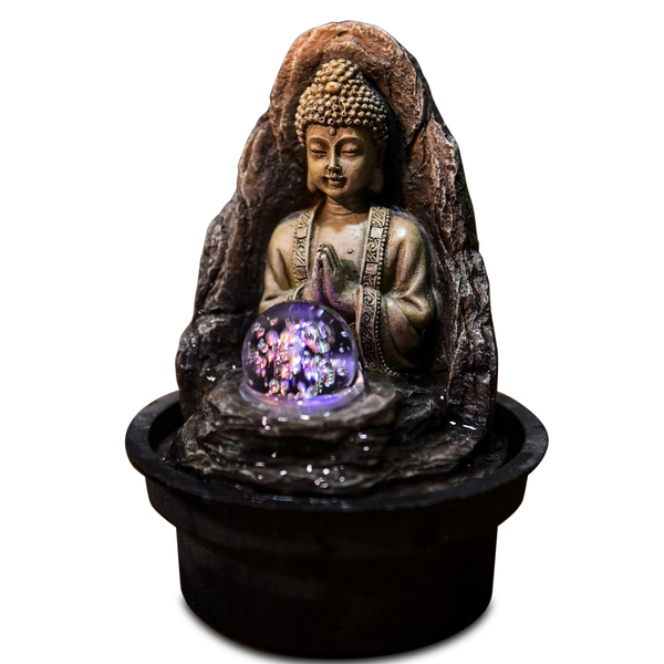 Zen' Light - Fontaine d'Intérieur Déco Bouddha Peace avec Eclairage Led